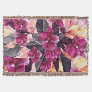 蘭。 美しい花との熱帯デザイン スローブランケット