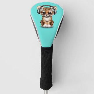 虎の子のかわいい身に着けているヘッドホーン ゴルフヘッドカバー