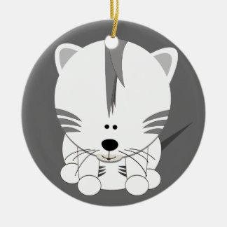 虎の子の白い円形のオーナメント セラミックオーナメント