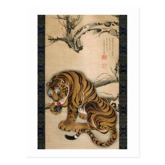 虎図、若冲のトラ、Jakuchu 葉書き