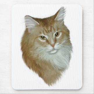 虎猫のメインの赤いあらいぐま マウスパッド