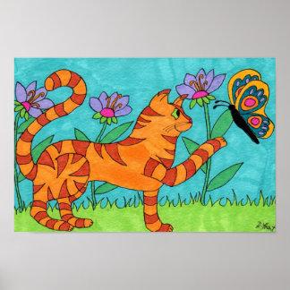 虎猫の猫および蝶民芸 ポスター