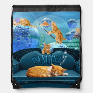 虎猫猫によっては水中ファンタジーが夢を見ます ナップサック