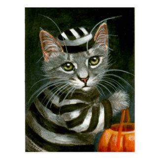虎猫猫のハロウィンの囚人の郵便はがき ポストカード