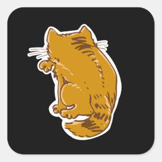 虎猫猫の菓子の漫画を舐めること 正方形シール