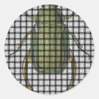 虫のコレクション-織り方のカブトムシ ラウンドシール