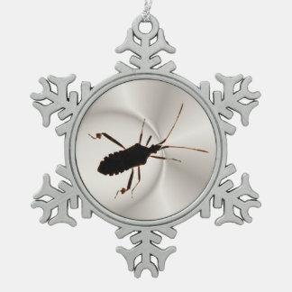 虫のシルエットの~のピューターのオーナメント スノーフレークピューターオーナメント