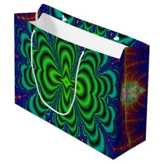 虫食い穴のフラクタルのネオン緑の宇宙の管 ラージペーパーバッグ