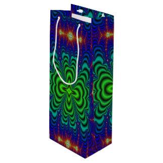 虫食い穴のフラクタルのネオン緑の宇宙の管 ワインギフトバッグ