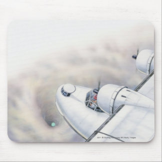 虫食い穴の上の平らな飛行のイラストレーション マウスパッド