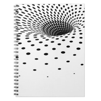 虫食い穴を形作る白黒ハーフトーンパターン ノートブック