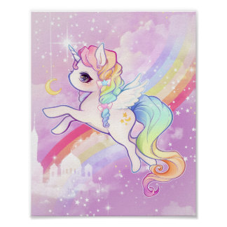 虹および城とのかわいいかわいいのパステル調のユニコーン ポスター
