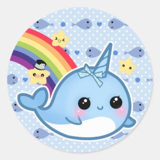 虹および星とnarwhalかわいいベビー ラウンドシール