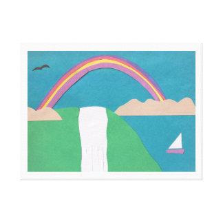 虹および滝場面のキャンバス キャンバスプリント