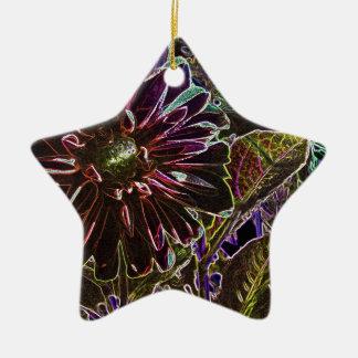 虹および黒いダリア 陶器製星型オーナメント
