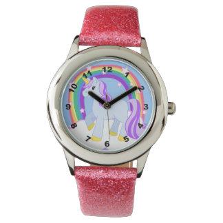 虹とのかわいいきらめくユニコーン 腕時計