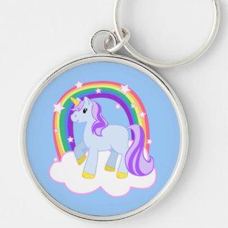虹とのかわいい魔法のユニコーン(カスタマイズ可能な!) キーホルダー