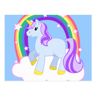 虹とのかわいい魔法のユニコーン(カスタマイズ可能な!) ポストカード