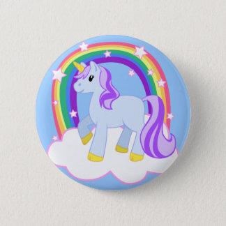 虹とのかわいい魔法のユニコーン(カスタマイズ可能な!) 5.7CM 丸型バッジ