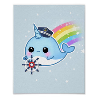 虹とnarwhalかわいいかわいいの大尉 ポスター