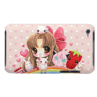 虹に坐っているかわいい女の子およびかわいい動物 Case-Mate iPod TOUCH ケース