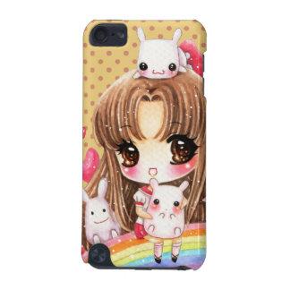 虹に坐るかわいい女の子およびかわいいのバニー iPod TOUCH 5G ケース