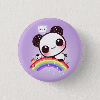 虹のかわいいの食糧を持つかわいいパンダ 3.2CM 丸型バッジ