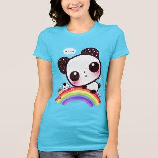 虹のかわいいの食糧を持つかわいいパンダ Tシャツ