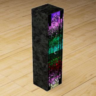 虹のきらきら光るなパターン ワインギフトボックス