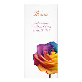 虹のばら色の結婚式メニュー棚カード ラックカード