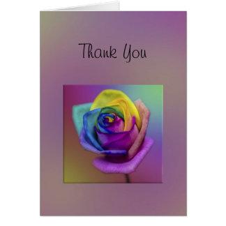 虹のばら色の花は感謝していしています グリーティングカード