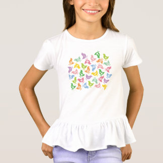 虹のひよこパターンおもしろいのイースターレトロのTシャツ Tシャツ