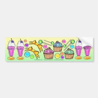 虹のアイスクリームのサンデーのコップのケーキキャンデーのパーティー バンパーステッカー