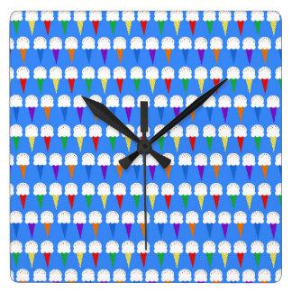 虹のアイスクリームコーン スクエア壁時計