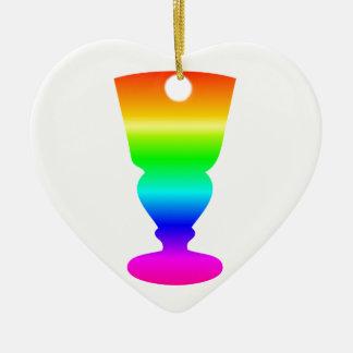 虹のアブサンガラス 陶器製ハート型オーナメント