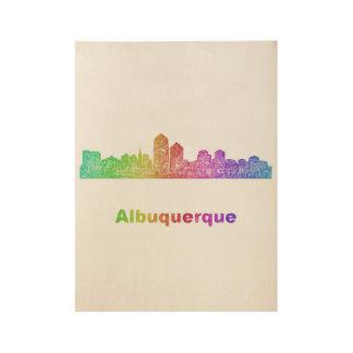 虹のアルバカーキのスカイライン ウッドポスター