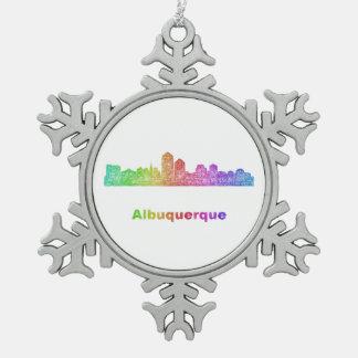 虹のアルバカーキのスカイライン スノーフレークピューターオーナメント