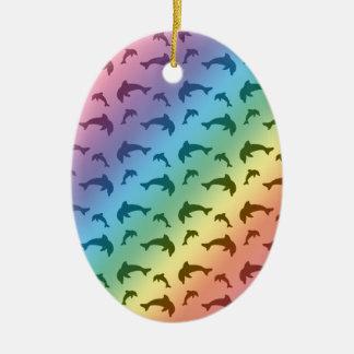 虹のイルカパターン セラミックオーナメント