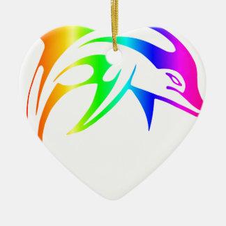 虹のイルカ 陶器製ハート型オーナメント