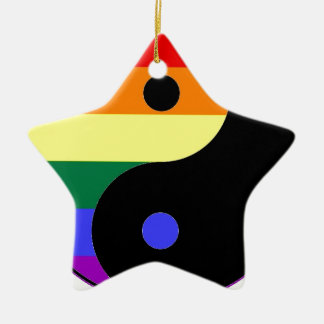 虹のインおよびヤン- LGBTのプライドの虹色 セラミックオーナメント