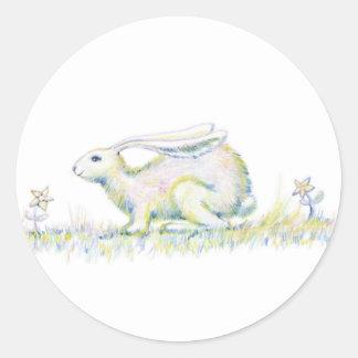虹のウサギ ラウンドシール