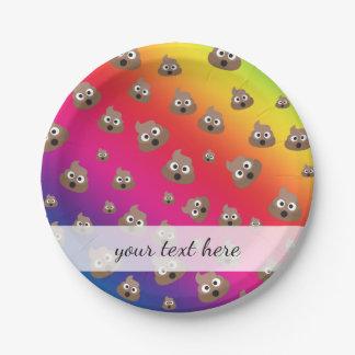 虹のウンチのEmojiかわいいパターン ペーパープレート
