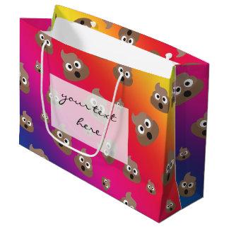 虹のウンチのEmojiかわいいパターン ラージペーパーバッグ