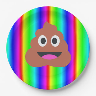 虹のウンチのemojiの紙皿 ペーパープレート