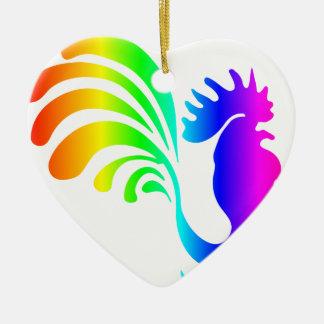 虹のオンドリ#2 セラミックオーナメント