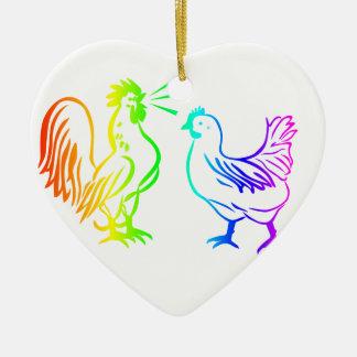 虹のオンドリ#3 セラミックオーナメント
