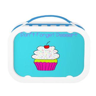 虹のカップケーキのスケッチが付いているデザートを忘れないで下さい ランチボックス
