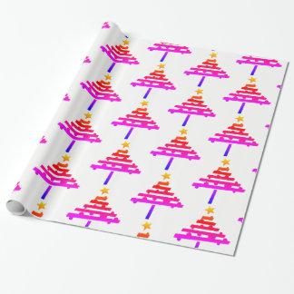 虹のクリスマスツリーパターン ラッピングペーパー