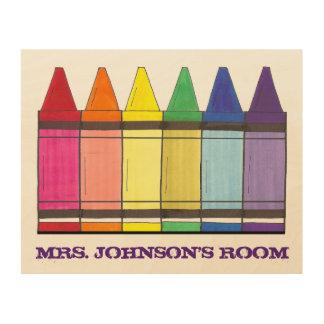 虹のクレヨンの名前入りな教室の先生の芸術 ウッドウォールアート