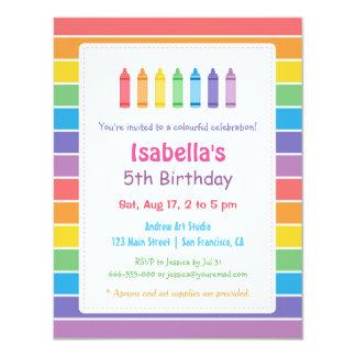 虹のクレヨンの芸術の技術の子供の誕生日のパーティ カード